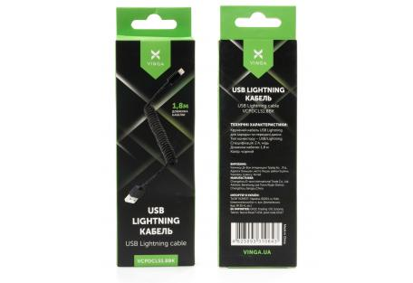 Дата кабель USB 2.0 AM to Lightning 1.8m Spring black Vinga (VCPDCLS1.8BK)