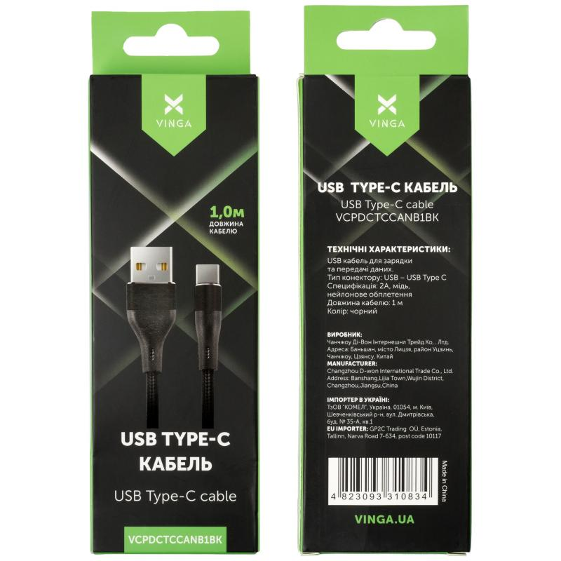 Дата кабель USB 2.0 AM to Type-C 1.0m cylindric nylon back Vinga (VCPDCTCCANB1BK)