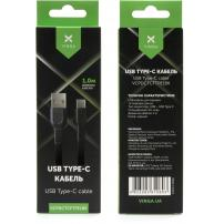 Дата кабель USB 2.0 AM to Type-C 1.0m flat art TPE back Vinga (VCPDCTCFTPE1BK)