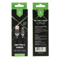 Дата кабель USB 2.0 AM to Type-C 1.0m 2-sides usb nylon black Vinga (VCPDCTC2SNB1BK)