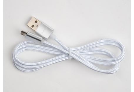 Дата кабель USB 2.0 AM to Micro 5P 1m LED silver Vinga (VCPDCMLED1S)