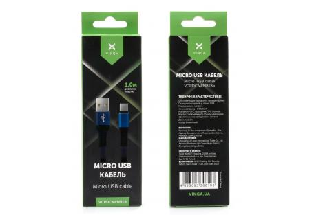 Дата кабель USB 2.0 AM to Micro 5P 1m flat nylon blue Vinga (VCPDCMFNB1B)
