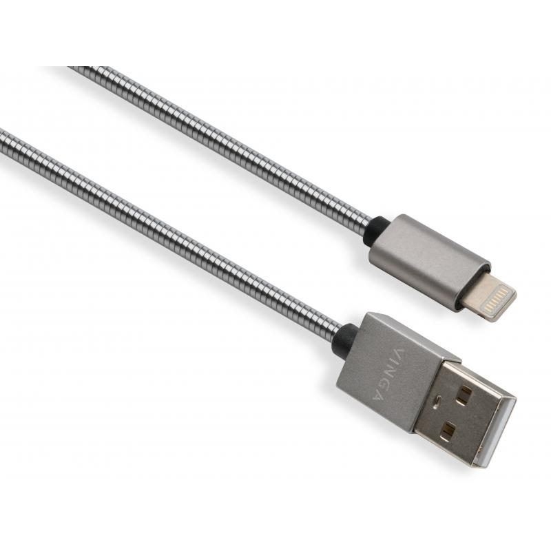Дата кабель USB 2.0 AM to Lightning 1m stainless steel silver Vinga (VCPDCLSSJ1S)