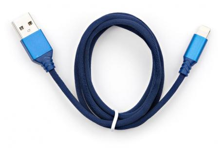 Дата кабель USB 2.0 AM to Lightning nylon 1m blue Vinga (VCPDCLNB21B)