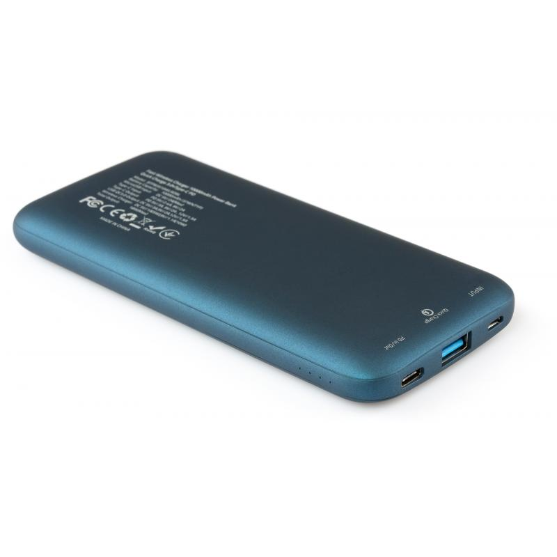 Батарея універсальна Vinga 10000 mAh Wireless QC3.0 PD soft touch blue (BTPB3510WLROBL)